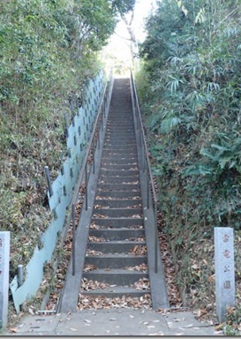 力士雷電の史跡・稲荷社の階段